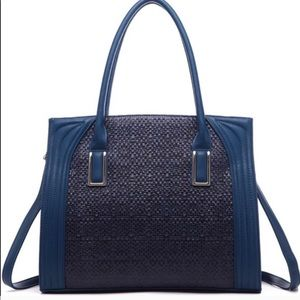 BLUE DANIELA WEAVE LARGE STRUCTURE TOTE NWT